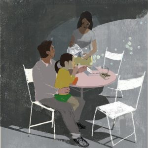 Illustration: a mother pours water at a dining table while a father holds his daughter in his lap.