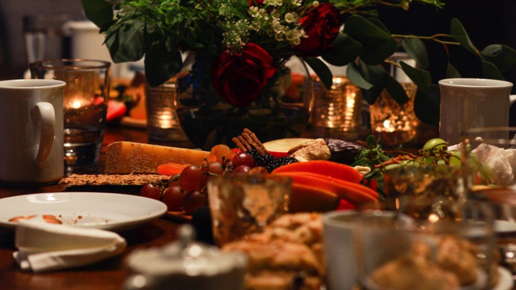 Holiday dishes on a festive table
