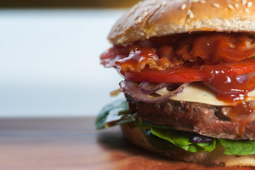 Close up image of a hamburger